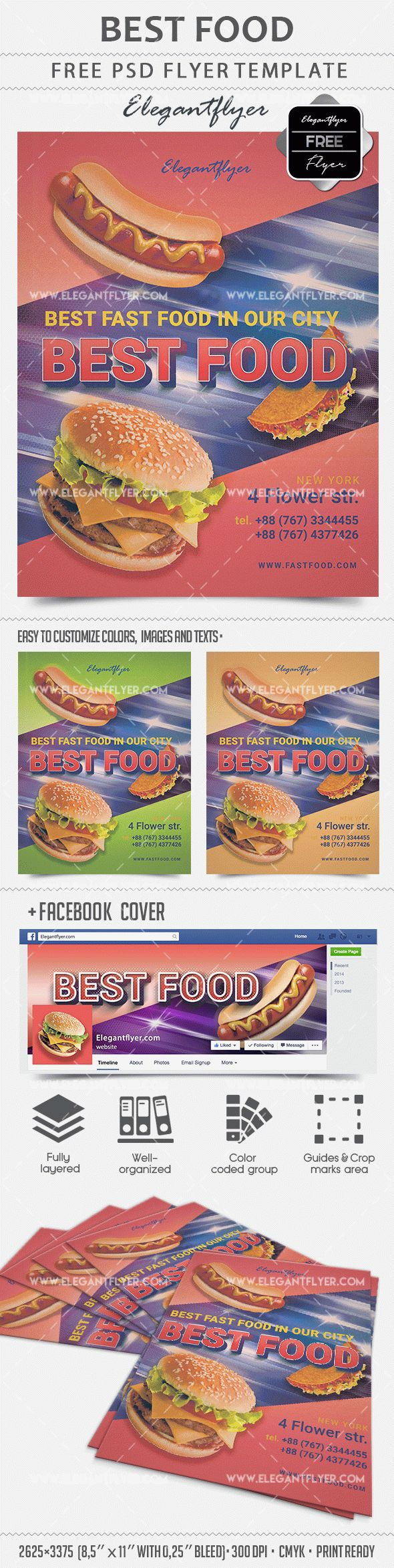 Best Food – Free Flyer PSD Template + Facebook cover