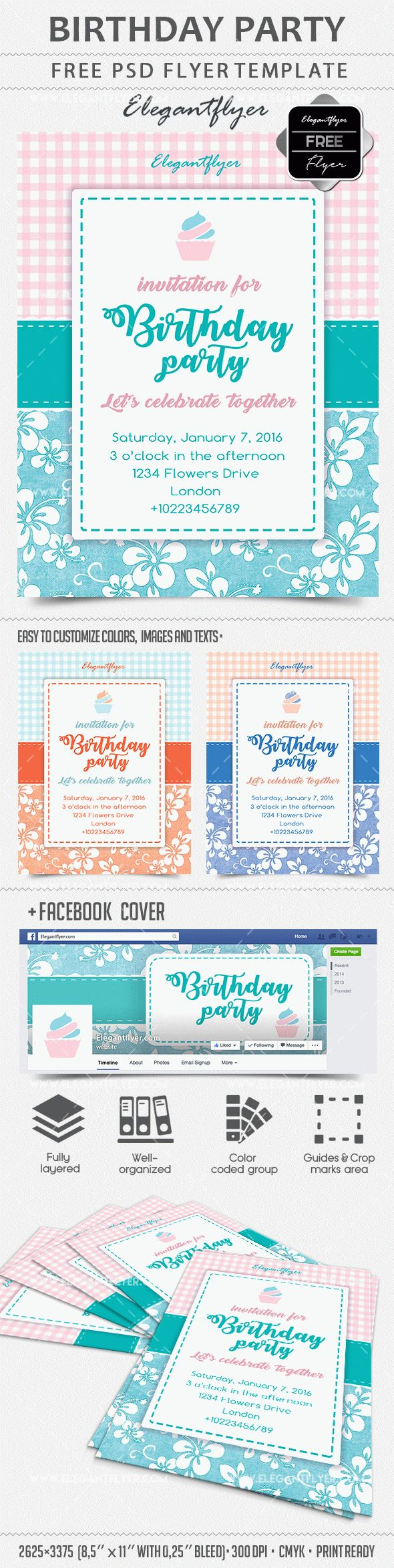 Free Birthday Party Flyer PSD Template