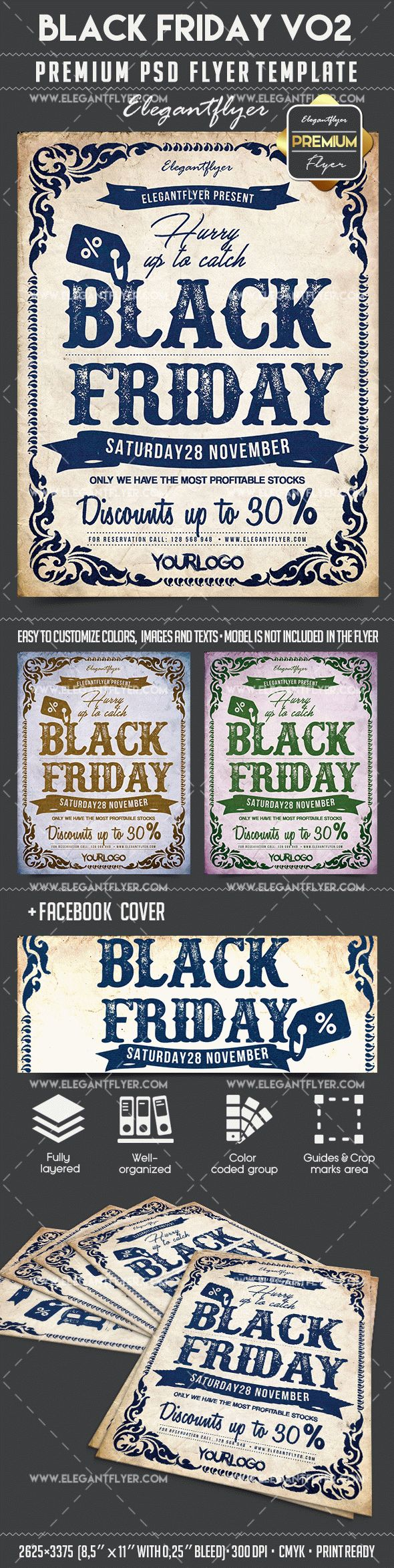 Black Friday V02 – Flyer PSD Template + Facebook Cover