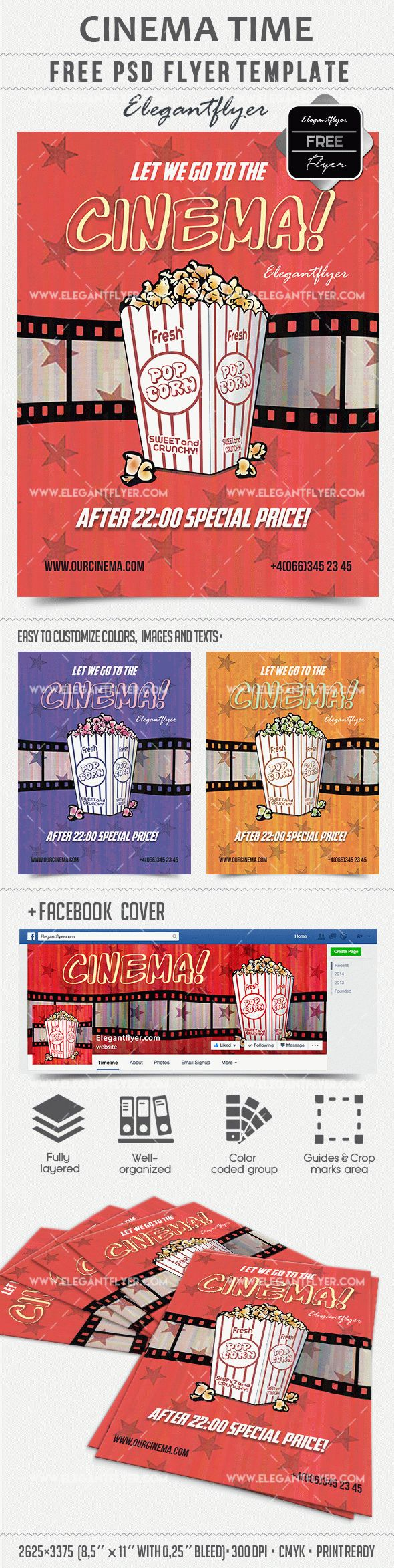 Cinema Time – Free Flyer PSD Template + Facebook cover