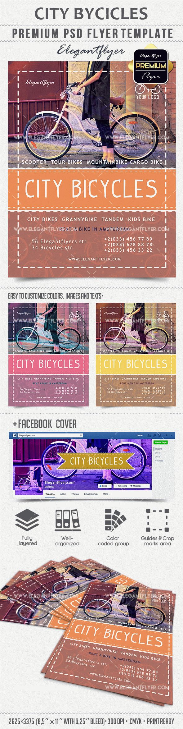 City Bicycles – Premium PSD Template + Facebook cover