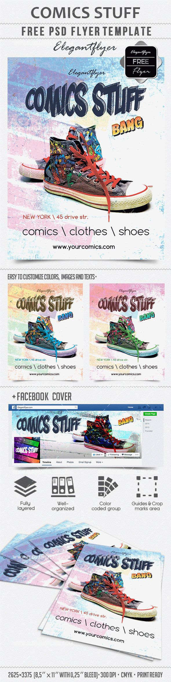 Comics Stuff – Free PSD Template + Facebook cover