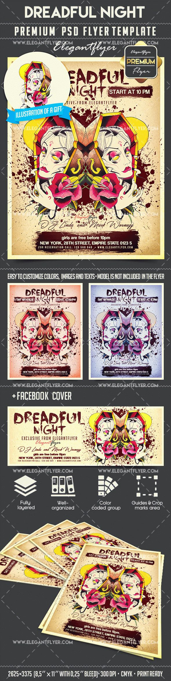 Dreadful Night – Flyer PSD Template + Facebook Cover