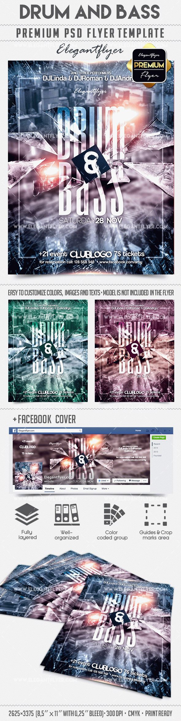 Drum and Bass – Flyer PSD Template + Facebook Cover