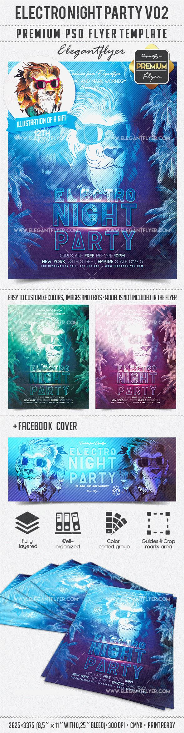 Electro Night Party V02 – Flyer PSD Template