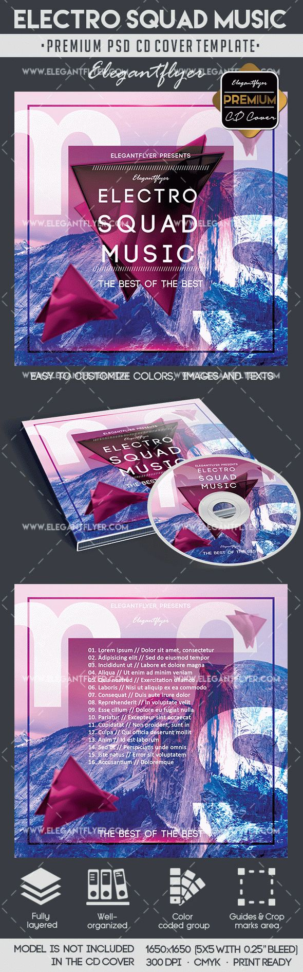 Electro Squad Music CD Cover Template