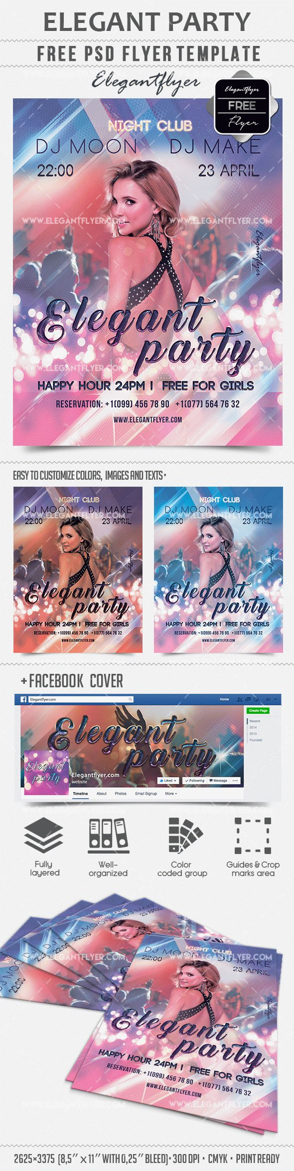 Elegant Party – Free PSD Template + Facebook cover