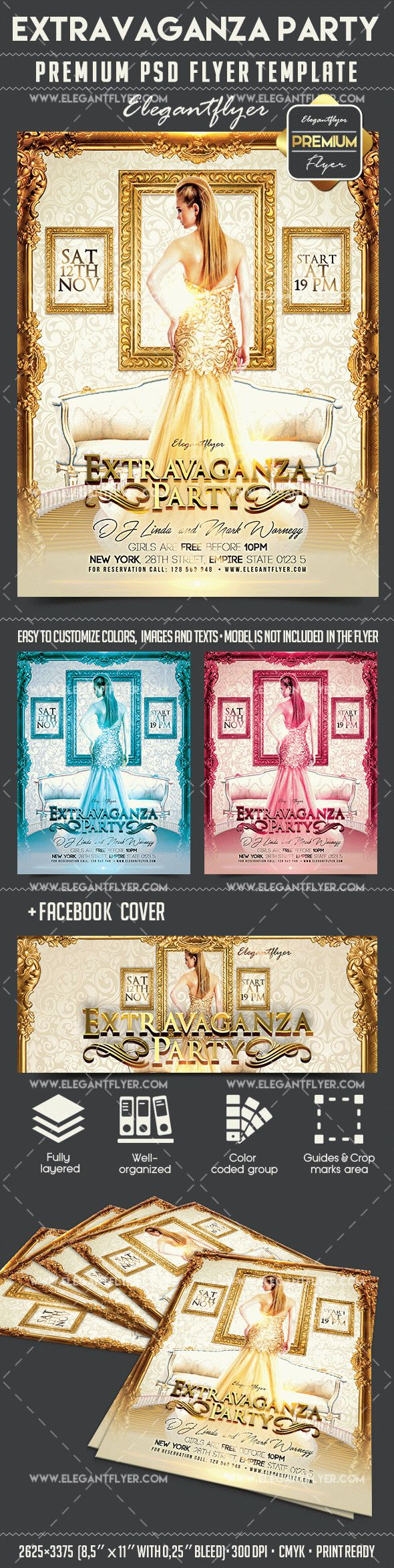 Extravaganza Party – Flyer PSD Template + Facebook Cover