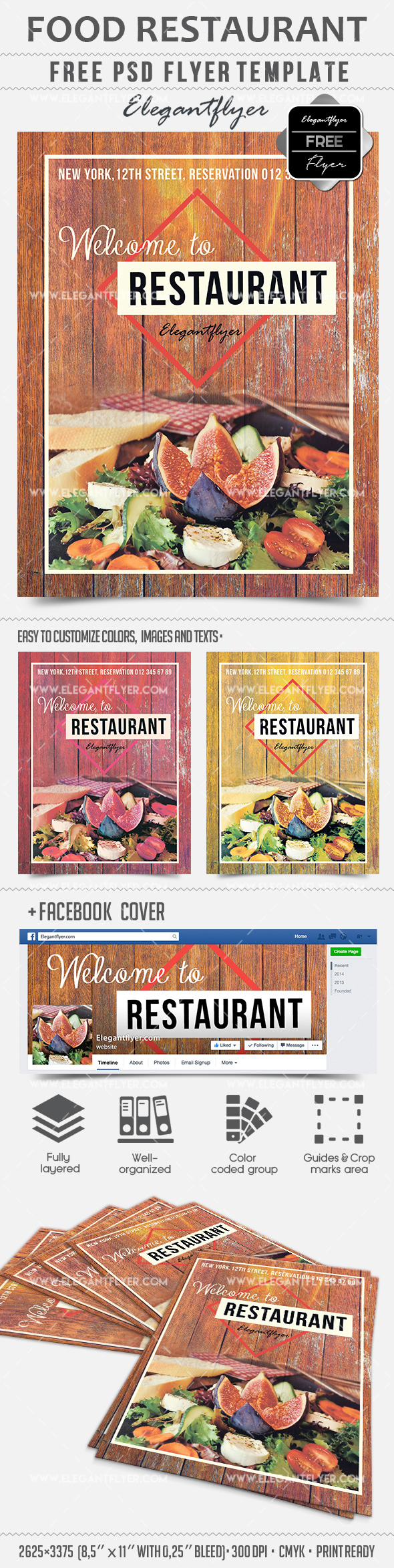 Food Restaurant – Free PSD Template + Facebook cover