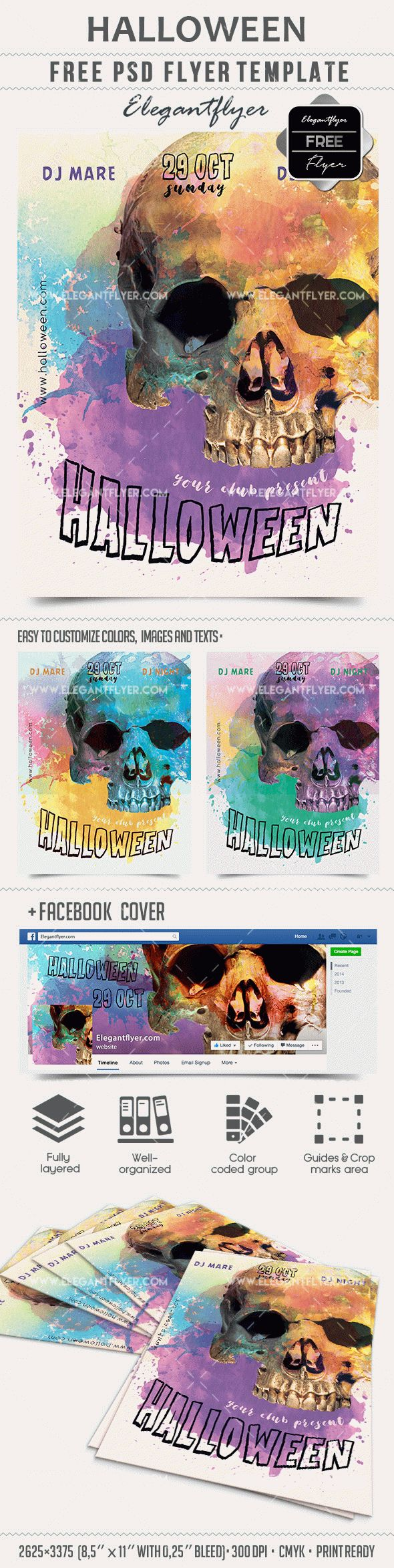 Halloween – Free PSD Template + Facebook cover