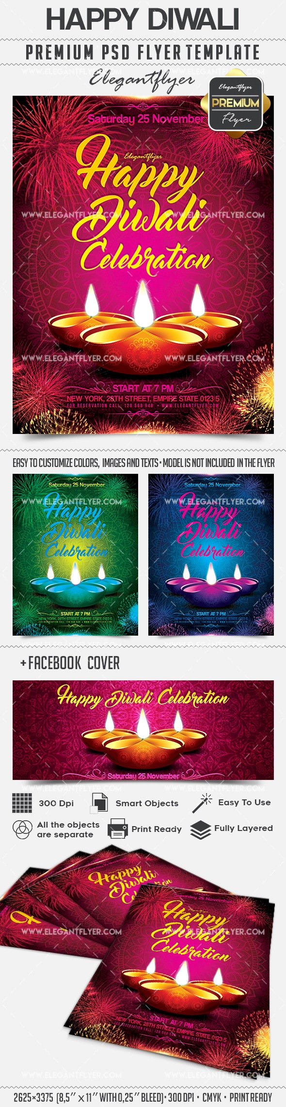 Happy Diwali – Flyer PSD Template + Facebook Cover