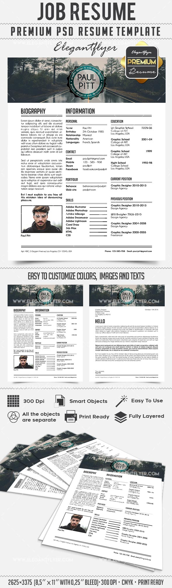 Job Resume – CV PSD Templates