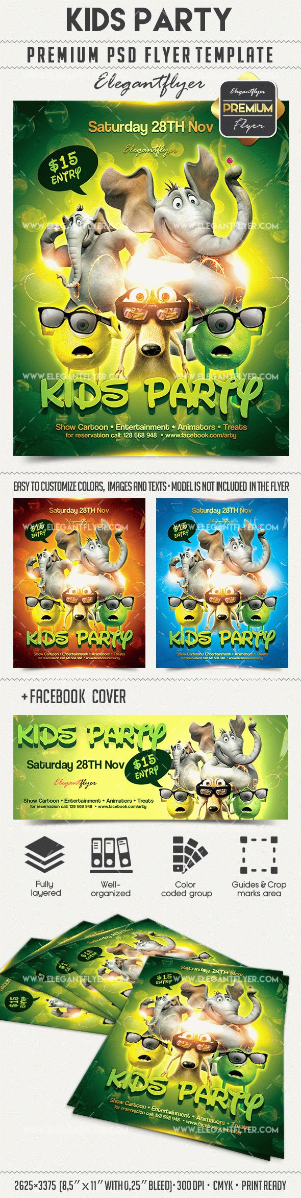 Kids Party – Flyer PSD Template + Facebook Cover