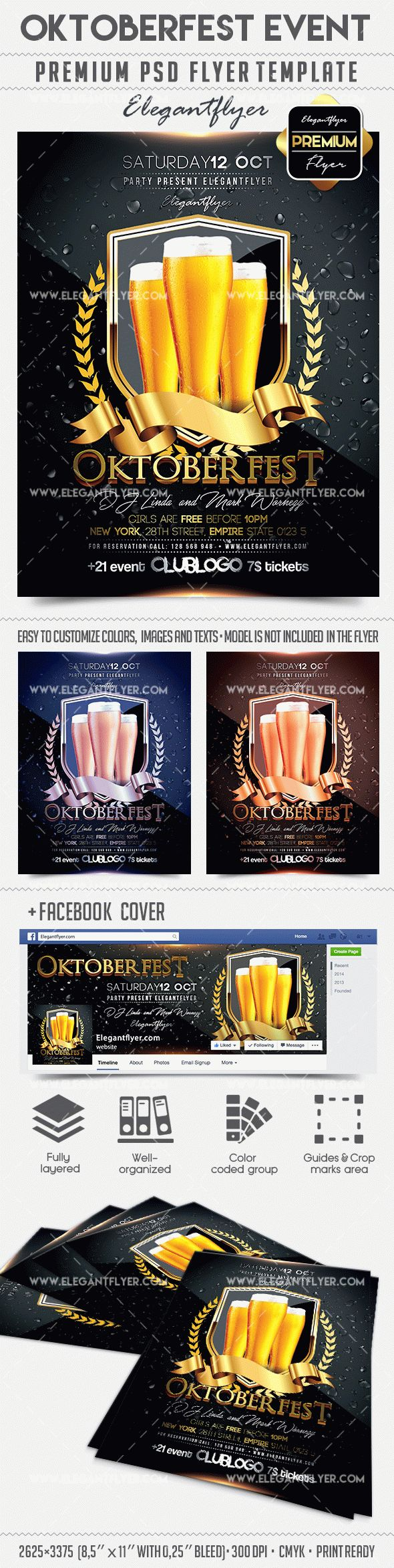Oktoberfest Event – Flyer PSD Template + Facebook Cover