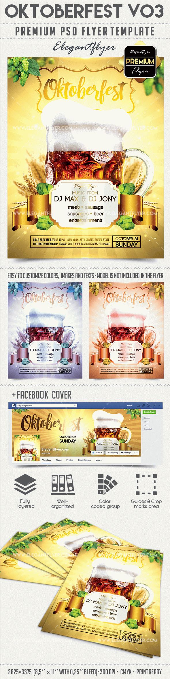 Oktoberfest V03 – Flyer PSD Template + Facebook Cover