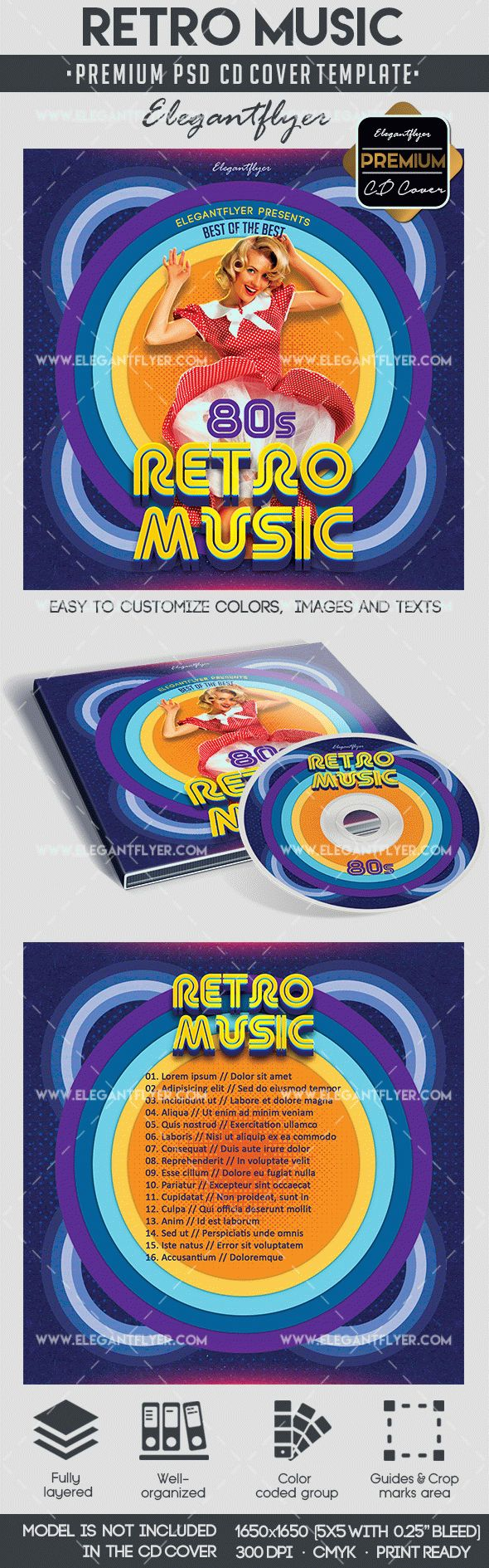 Retro Music – Premium CD&DVD cover PSD Template