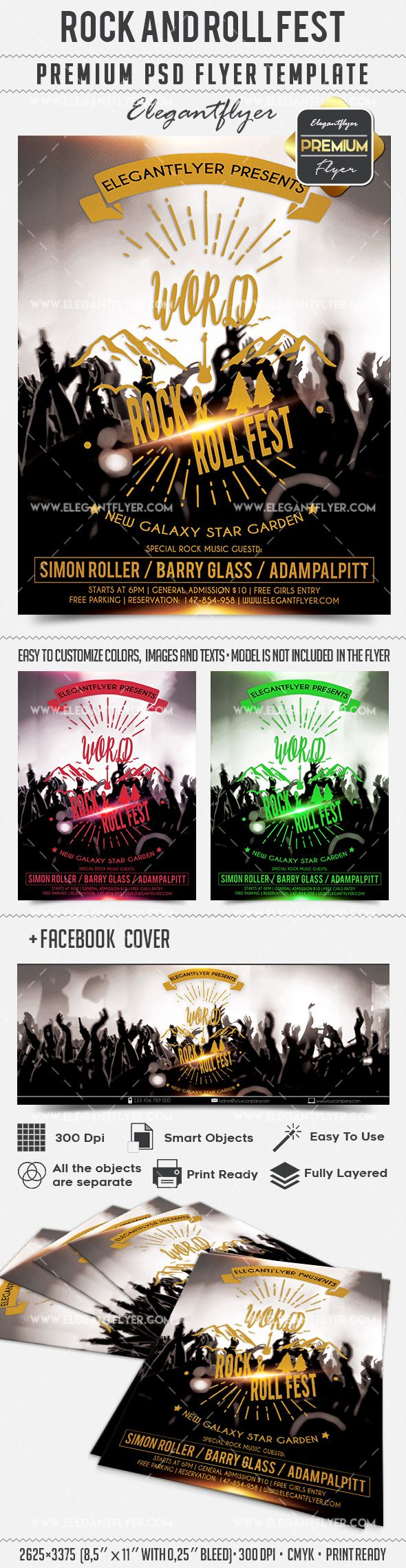Rock and Roll Fest – Flyer PSD Template + Facebook Cover