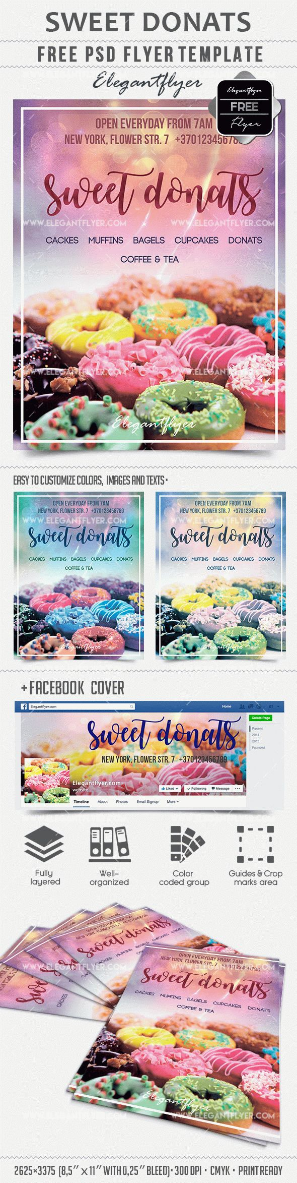 Sweet Donats – Free PSD Template + Facebook cover