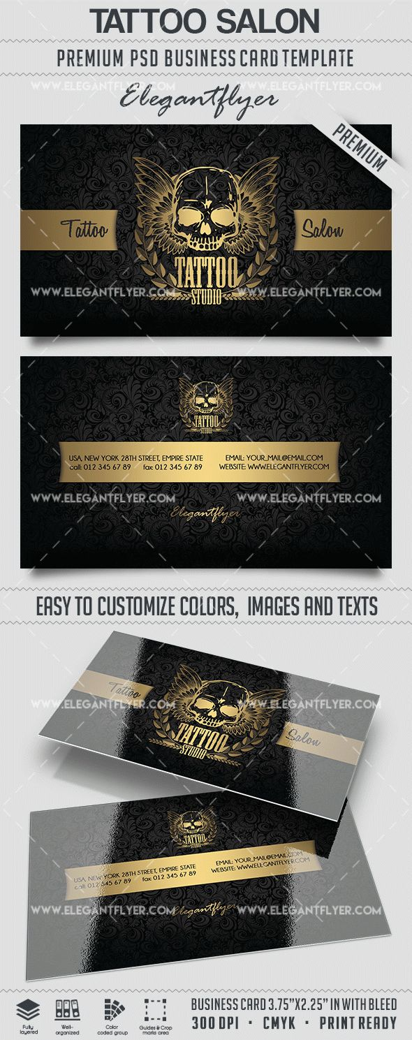 Tattoo salon business card templates psd by elegantflyer tattoo salon business card templates psd flashek Images