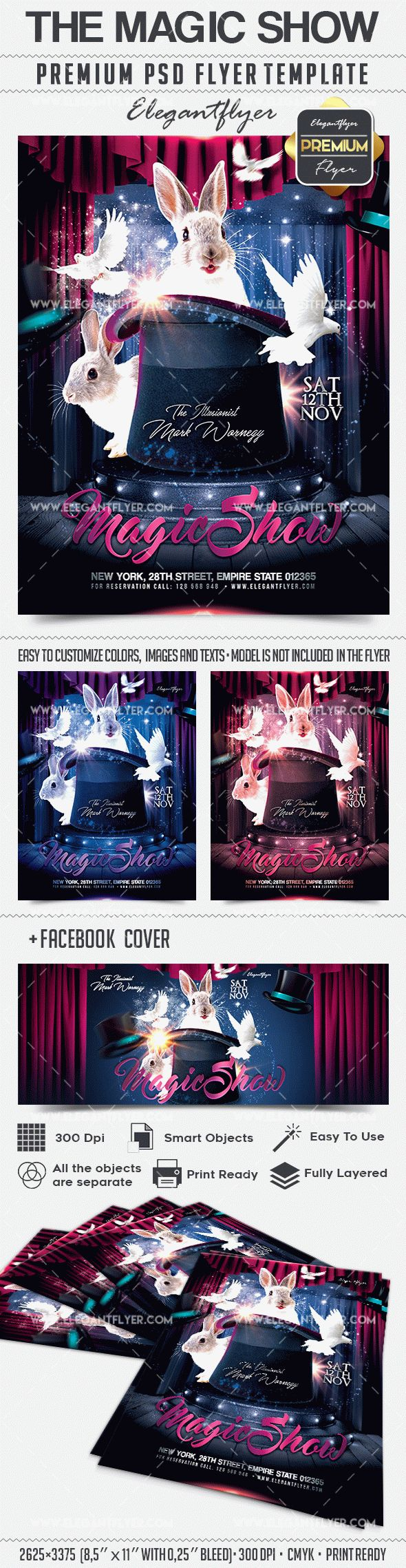 The Magic Show – Flyer PSD Template + Facebook Cover