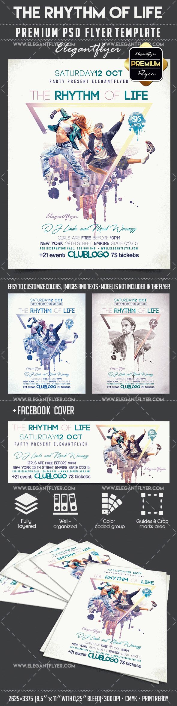 The Rhythm Of Life – Flyer PSD Template + Facebook Cover