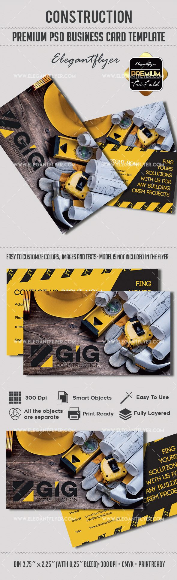 Construction – Premium Business card PSD Template