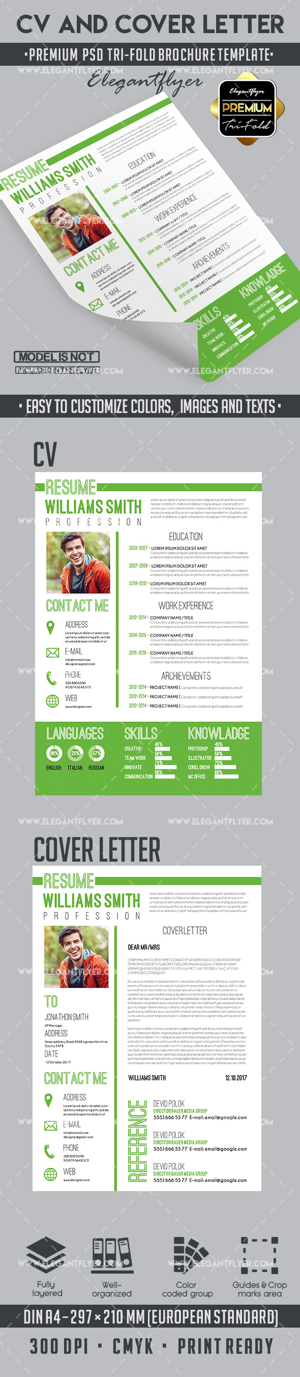 CV– Premium CV and Cover Letter PSD Template