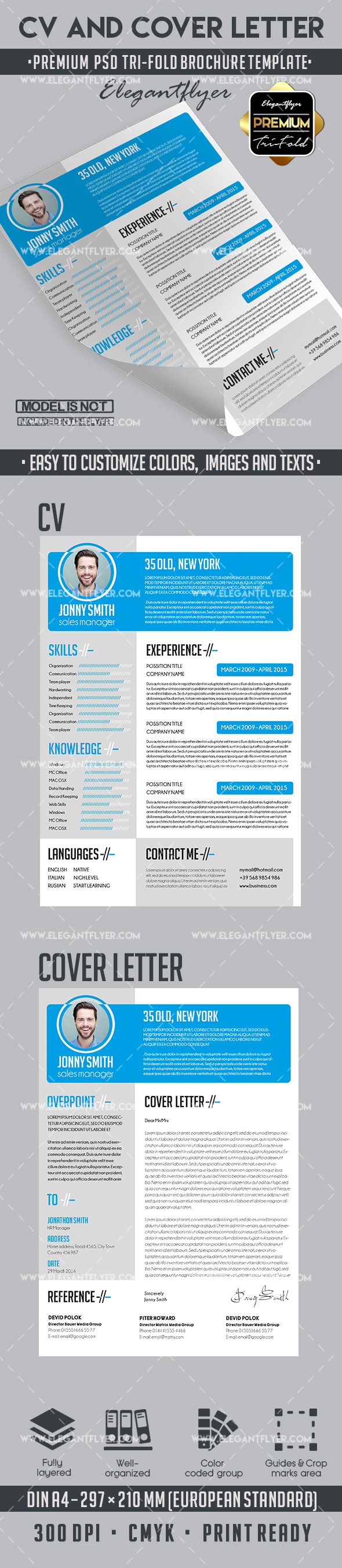 Large Blue Heading – Creative Resume Template in PSD