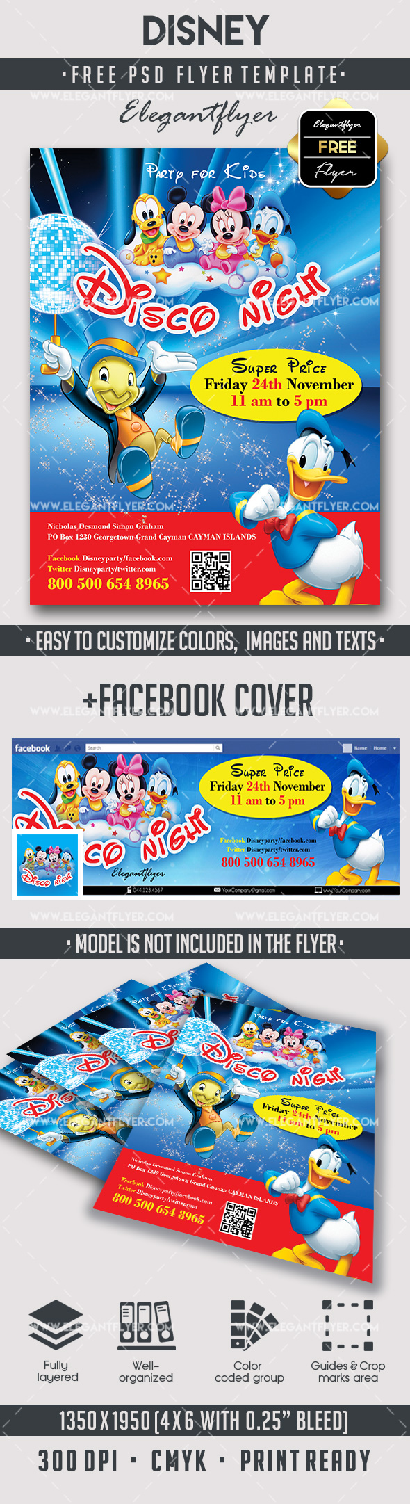 Disney – Free Flyer PSD Template + Facebook Cover