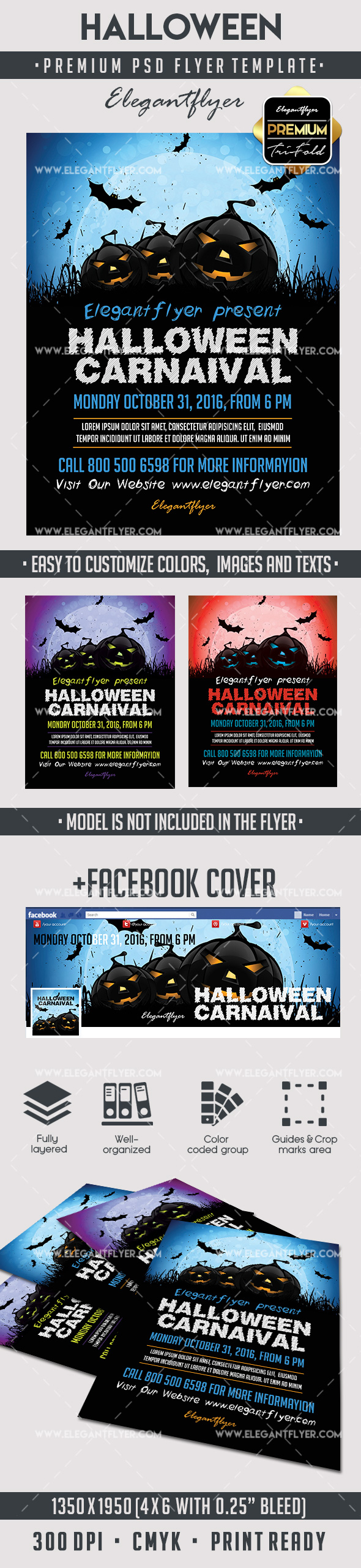 Halloween – Premium Flyer PSD Template + Facebook Cover