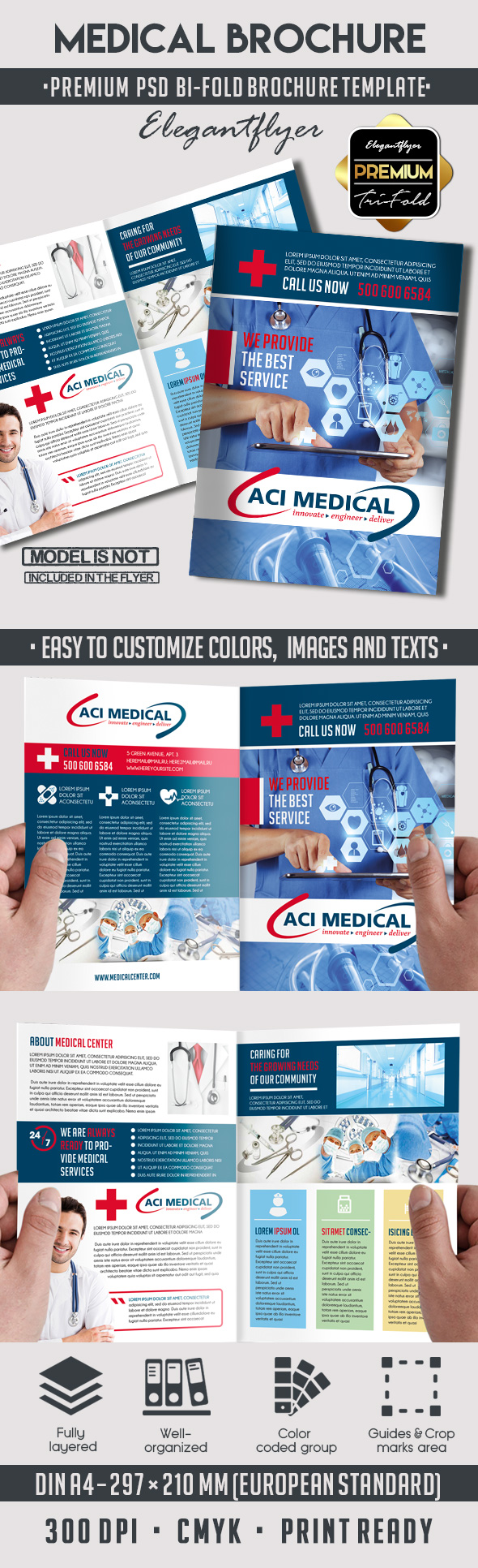 Medical – Premium Bi-Fold PSD Brochure Template