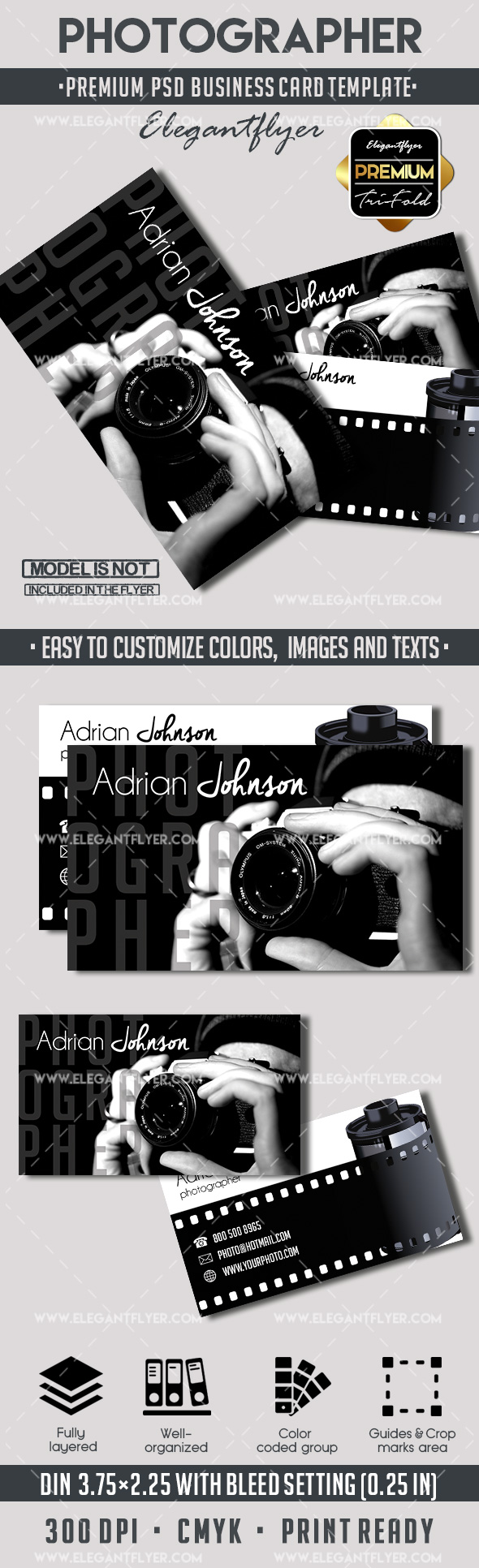 Photographer – Premium Business card PSD Template