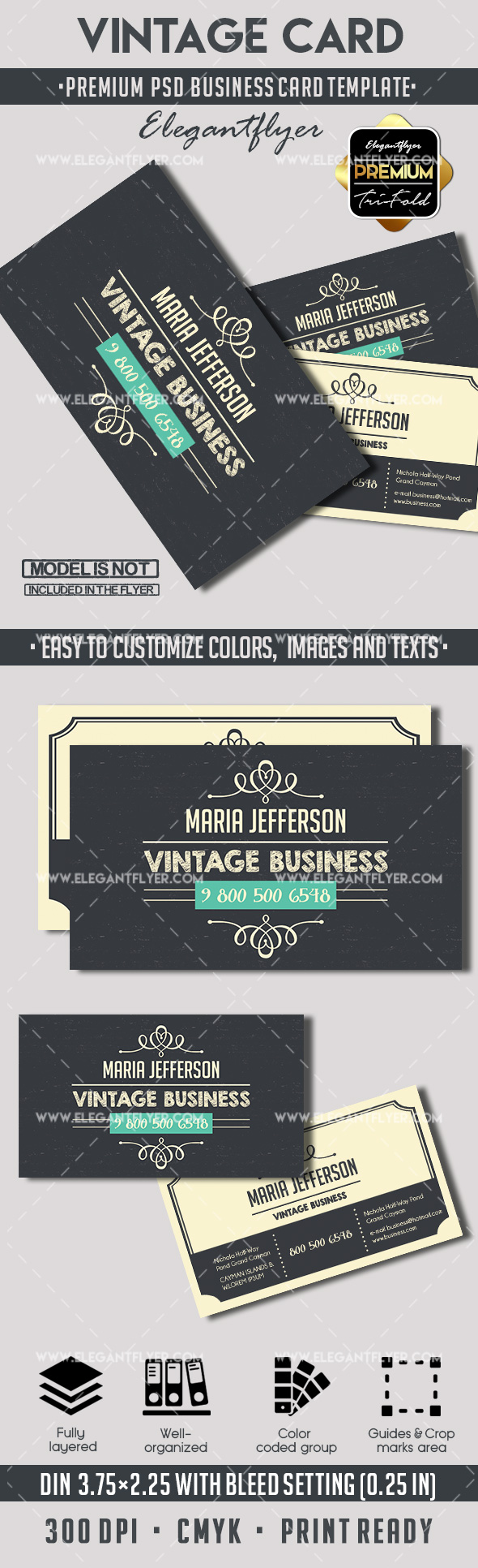 Vintage – Premium Business card PSD Template