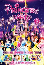 Princess Party – Flyer PSD Template + Facebook Cover