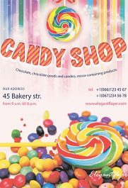 Candy Shop – Free Flyer PSD Template + Facebook Cover