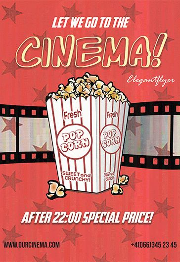 Free Cinema Time Flyer PSD Template