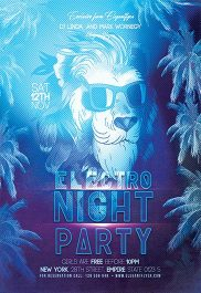 Electro Night Party V02 – Flyer PSD Template + Facebook Cover