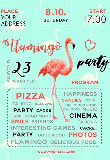 Flamingo Party – Free PSD Template + Facebook cover