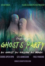 Ghosts Party – Free PSD Template + Facebook cover