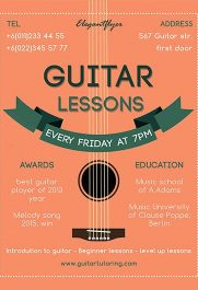 Guitar Lessons – Free PSD Template + Facebook cover