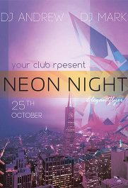 Neon Night – Free PSD Template + Facebook cover