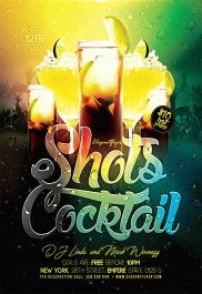 Shots Cocktail – Flyer PSD Template + Facebook Cover