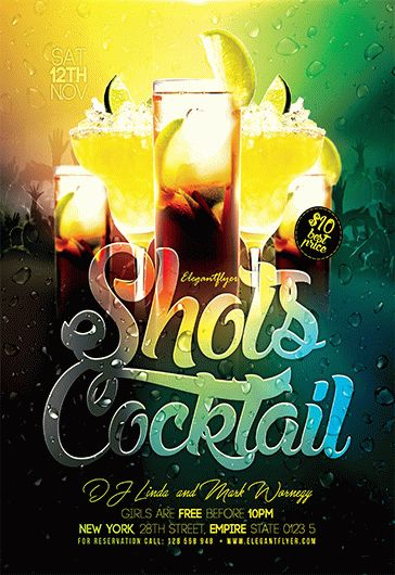 Shots Cocktail – Flyer PSD Template