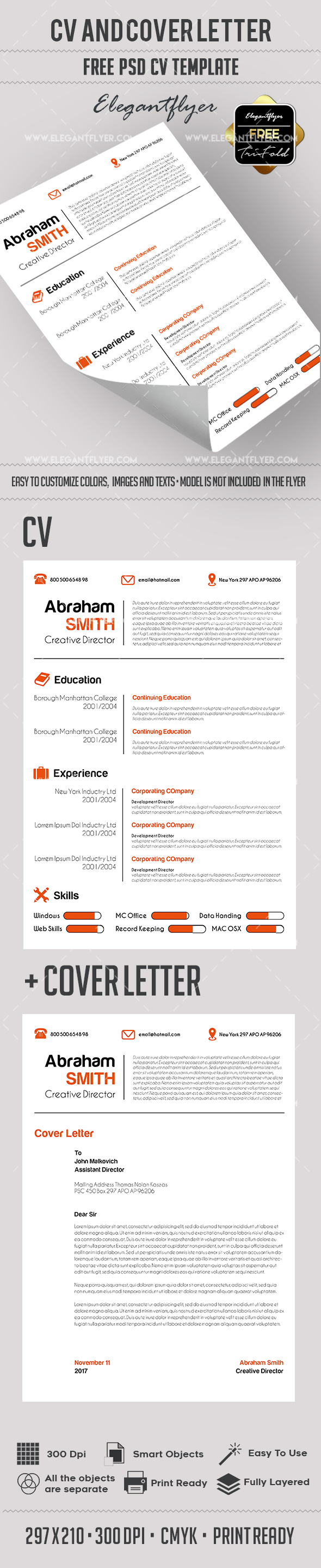 Free PSD CV and Cover Letter Template
