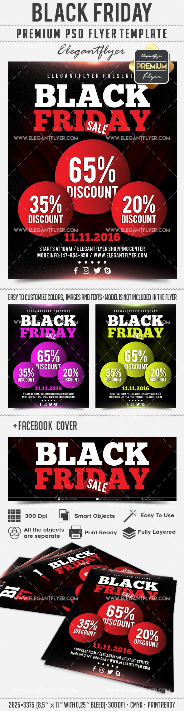 Black Friday – Flyer PSD Template + Facebook Cover