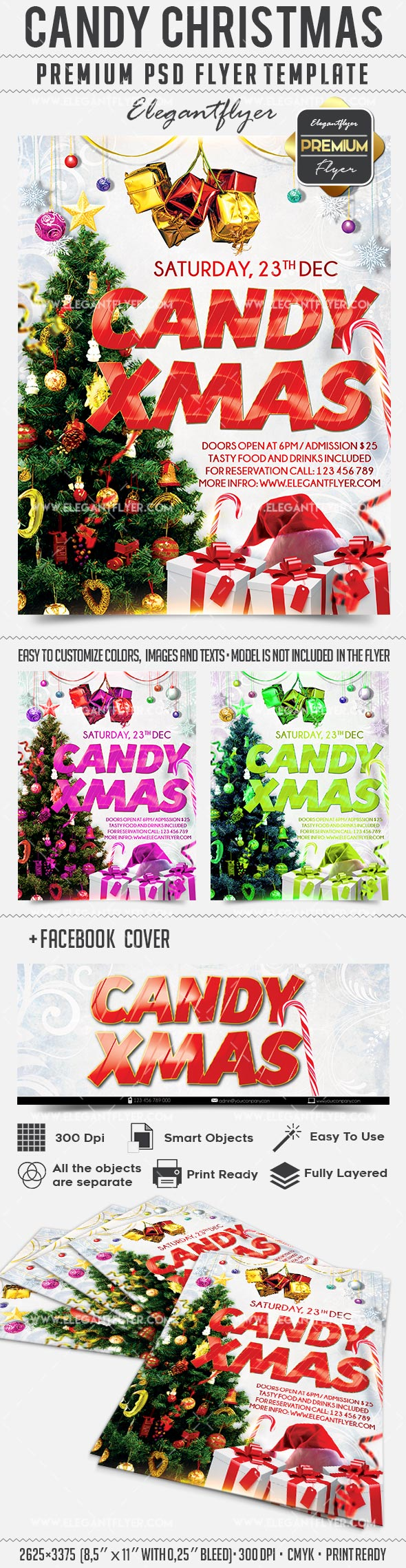 Candy Christmas Flyer PSD Templates