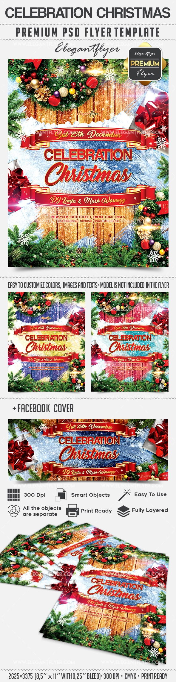 Celebration Christmas – Flyer PSD Template + Facebook Cover