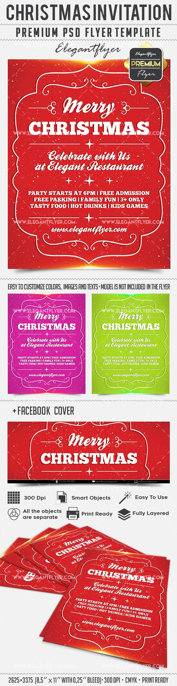 Christmas Invitation – Flyer PSD Template + Facebook Cover