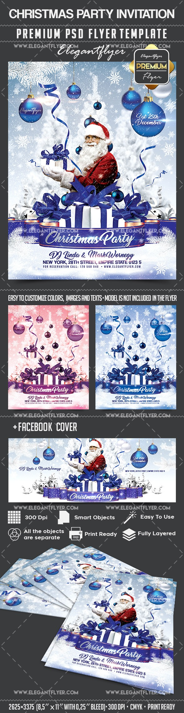 Christmas Party Invitation Flyer PSD Template Facebook Cover – Party Invitation Flyer