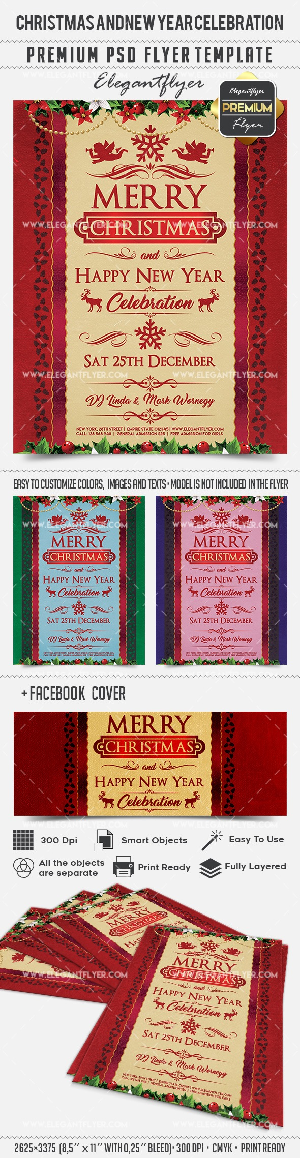 Christmas and New Year Celebration – Flyer PSD Template + Facebook Cover